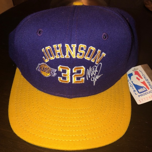 8807b270dc803 Vintage Magic Johnson NBA LA Lakers Snap-back Hat